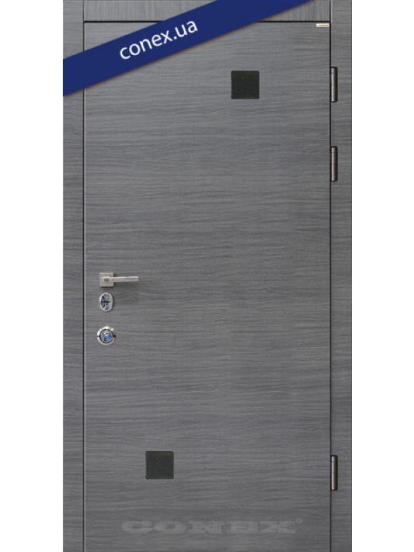 Модель 66. МДФ. Дуб английский (декор чёрное стекло)